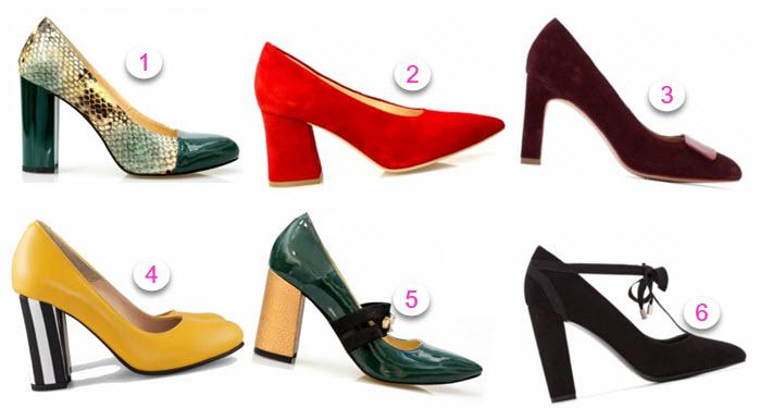 pantofi senzationali cu toc masiv din lac combinatii de culori chic