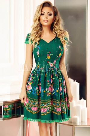 rochie verde in clos cu imprimeu traditional