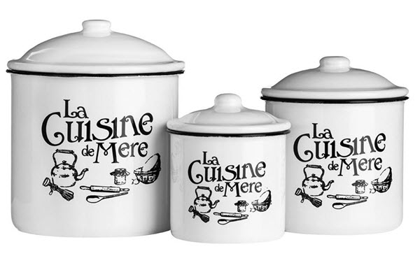 Set 3 recipiente ceramica cu email cu capac Cuisine