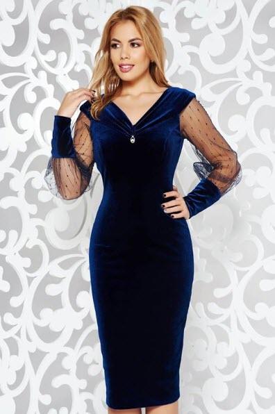 rochie de catifea midi cu dantela masura mare 52