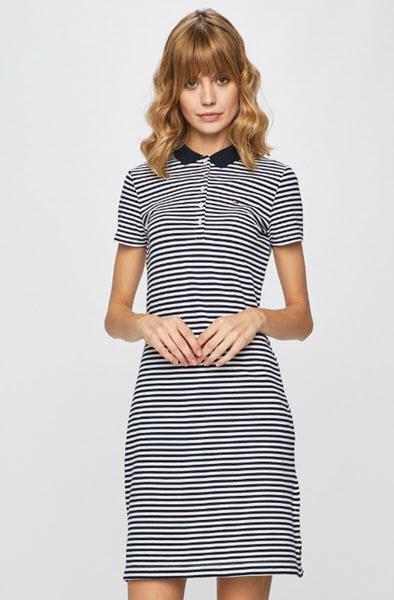rochie dreapta cu dungi orizontale din tricot fin alb cu negru