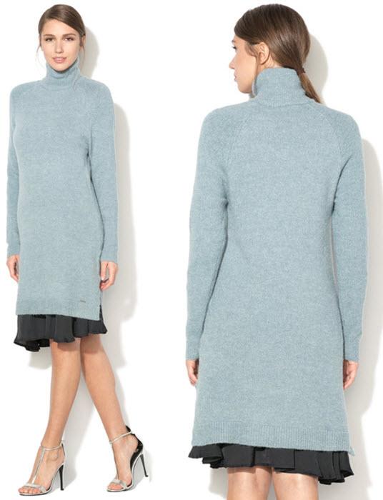 rochie tip pulover din tricot bleu