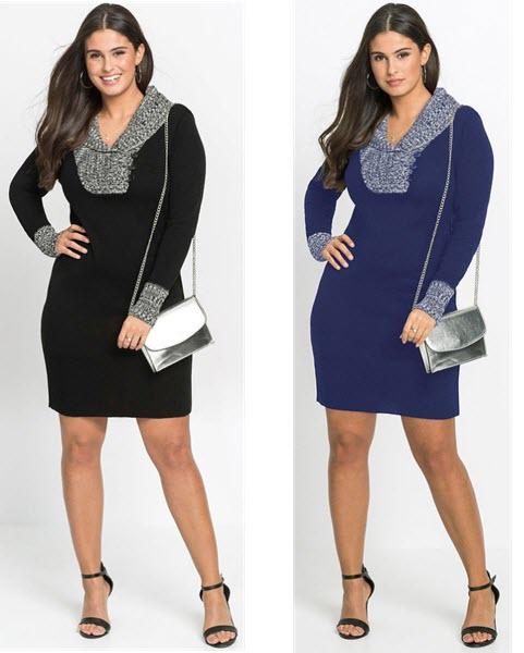 Rochie tricotată xxl neagra albastra cu guler