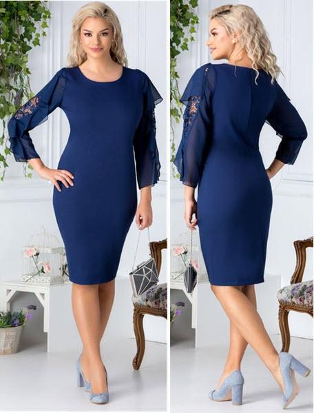 rochie bleumarin midi cu broderie la maneci