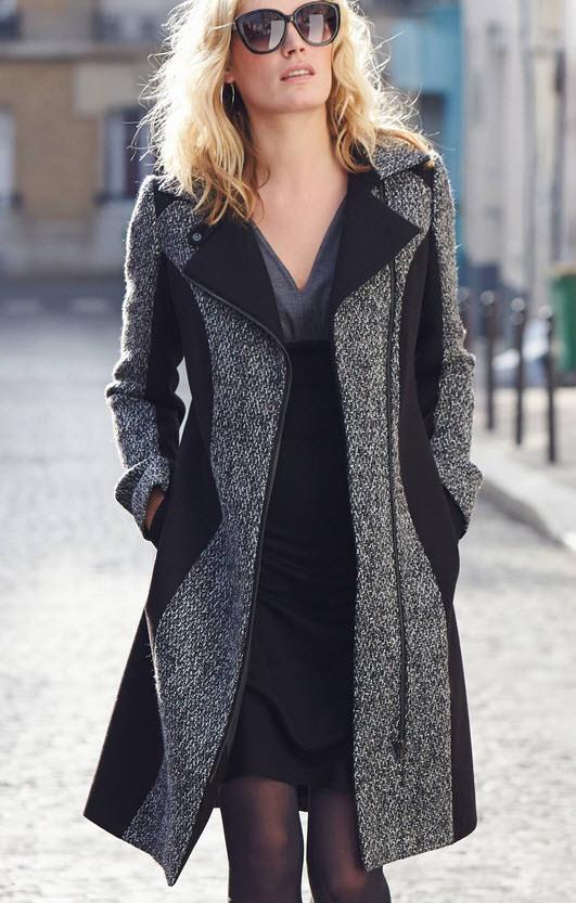 Palton dama din tweed gri cu negru cu cusaturi elegante