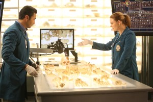 """BONES:  L-R:  Guest star Pej Vahdat and Emily Deschanel   in the """"The Brother in the Basement"""" episode of BONES airing Thursday, Oct. 8 (8:00-9:00 PM ET/PT) on FOX.  ©2015 Fox Broadcasting Co.  Cr:  Kevin Estrada/FOX"""