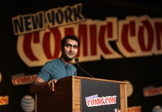 THE X-FILES: Moderator Kumail Nanjiani introduces an episode during THE X-FILES panel during FOX FANFARE 2015 at New York Comic Con on Saturday, Oct. 10 at Javits Center in New York, NY. CR: Ben Hider/FOX