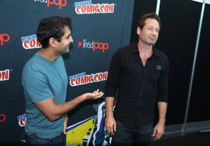 THE X-FILES:  Moderator Kumail Nanjiani, and THE X-FILES Cast Member David Duchovny in the press room during FOX FANFARE 2015 at New York Comic Con on Saturday, Oct. 10 at Javits Center in New York, NY.  CR: Ben Hider/FOX