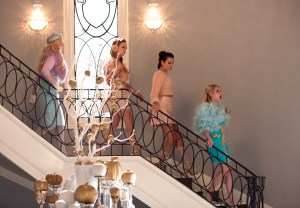 """SCREAM QUEENS: Pictured L-R: Abigail Breslin as Chanel #5, Billie Lourd as Chanel #3, Lea Michele as Hester and Emma Roberts as Chanel Oberlin in the """"Pumpkin Patch"""" episode of SCREAM QUEENS airing Tuesday, Oct. 13 (9:00-10:00 PM ET/PT) on FOX. ©2015 Fox Broadcasting Co. Cr: Steve Dietl/FOX."""