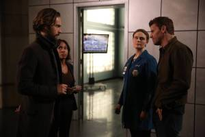 "SLEEPY HOLLOW: L-R: Tom Mison, Nicole Beharie, guest star Emily Deschanel from BONES and David Boreanaz from BONES in the ÒDead Men Tell No Tales"" episode of SLEEPY HOLLOW airing Thursday, Oct. 29 (9:00-10PM ET/PT) on FOX. ©2015 Fox Broadcasting Co. Cr: Tina Rowden/FOX."