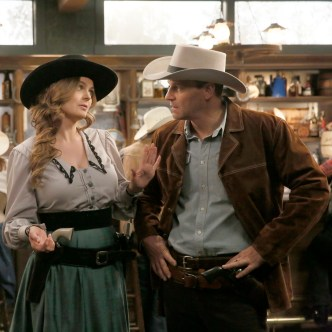 """BONES: L-R: Emily Deschanel and David Boreanaz in the first part of the two-hour """"The Cowboy in the Contest/The Doom in the Boom"""" fall finale episode of BONES airing Thursday, Dec. 10 (8:00-10:00 PM ET/PT) on FOX. ©2015 Fox Broadcasting Co. Cr: Jennifer Clasen/FOX"""