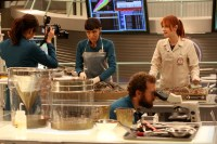 """BONES: L-R: Michaela Conlin, Tamara Taylor, TJ Thyne and guest star Laura Spencer in the """"The Last Shot at a Second Chance"""" episode of BONES airing Thursday, May 5 (8:00-9:00 PM ET/PT) on FOX.  ©2016 Fox Broadcasting Co.  Cr:  Patrick McElhenney/FOX"""