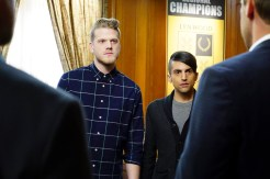 "BONES: L-R: Guest stars Scott Hoying (Pentatonix) and Mitchell Grassi (Pentatonix) in the ""The Strike in the Chord"" episode of BONES airing Thursday, May 19 (8:00-9:00 PM ET/PT) on FOX. ©2016 Fox Broadcasting Co. Cr: Kevin Estrada/FOX"
