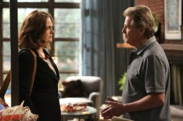 "BONES: L-R: Emily Deschanel and guest star Ryan O'Neal in the ""The Nightmare Within The Nightmare"" season finale episode of BONES airing Thursday, July 21 (8:00-9:00 PM ET/PT) on FOX. ©2016 Fox Broadcasting Co. Cr: Patrick McElhenney/FOX"