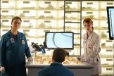"""BONES: L-R: Emily Deschanel, TJ Thyne and guest star Laura Spencer in the """"The Price for the Past"""" episode of BONES: THE FINAL CHAPTER airing Tuesday, Jan. 24 (9:01-10:00 PM ET/PT) on FOX. ©2016 Fox Broadcasting Co. Cr: Kevin Estrada/FOX"""