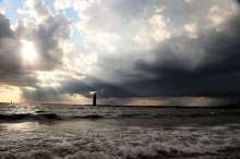 Muskegon Lighthouse and approaching storm
