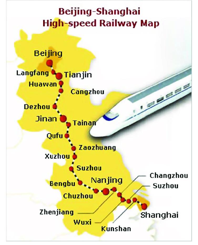 مسار قطار بكين شنغهاي السريع
