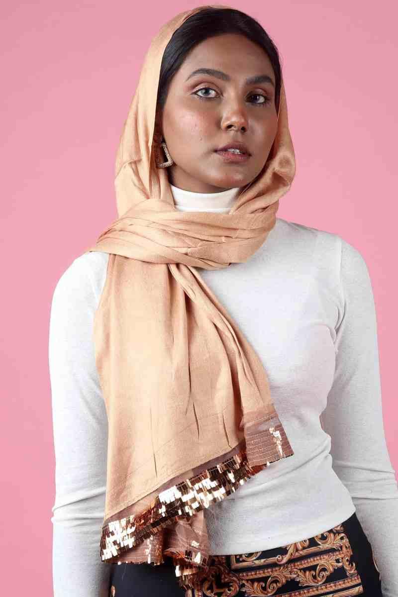 cream stylish sequins hijab