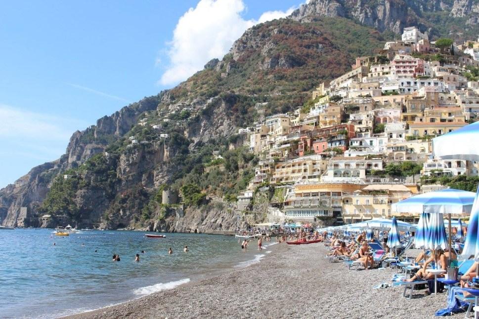 View of Positano beack Italy