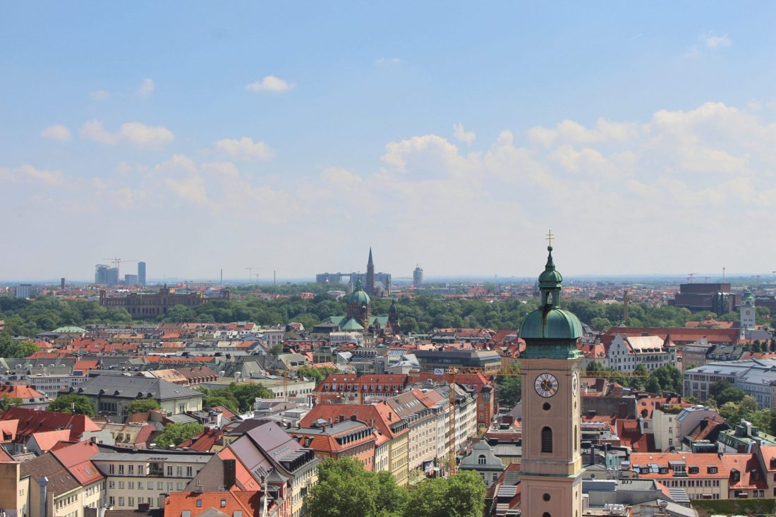 View from Peterskirche, Munich. Things to do in Munich in one day - even though Munich is Germany's third biggest city, it's still possible to see its absolute highlights all in one day, leaving to time to explore the rest of Bavaria! Check out our guide to seeing it all, with handy information and maps! https://thatanxioustraveller.com #europe #germany #munich #travel #oneday