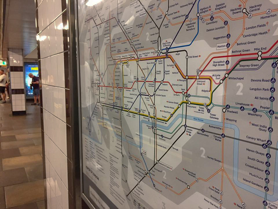 London Underground map on platform