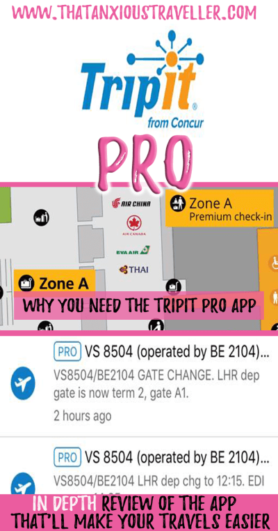 TripIt Pro review - this app will change the way you travel. Seriously. Make you travel life easier, and read our in-depth review of TripIt's pro features, including flight alerts, maps, tips, and more! #travel #apps #best #tripit #pro #review https://thatanxioustraveller.com