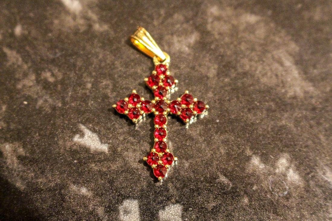 Garnet cross pendant from Prague