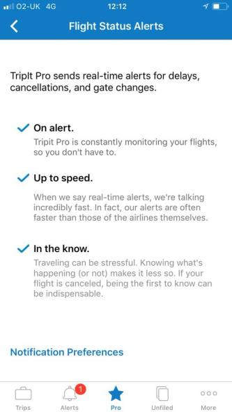 TripIt Pro review screenshot - flight status alerts