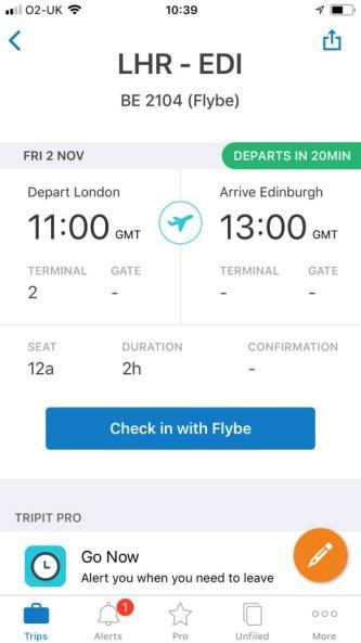 TripIt Pro review screenshot - itinerary