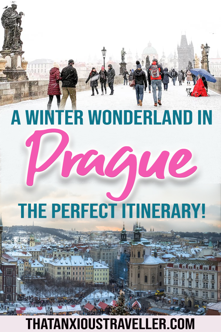 Want to travel to Prague in winter? Get the perfect winter itinerary here, with packing lists for the perfect winter outfit, and photography to get your wanderlust going. Get plenty of pictures of Prague in winter, and even the temperature! #prague #travel #europe
