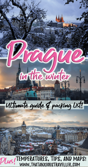 Thinking of visiting Prague in winter? Want to know what to do, what temperatures to expect, where to find the most fairytale of snow scenes, packing lists, and things to do at Christmas time? Find out all the info here! https://thatanioustraveller.com #prague #travel #winter #outfit #beautiful #christmas