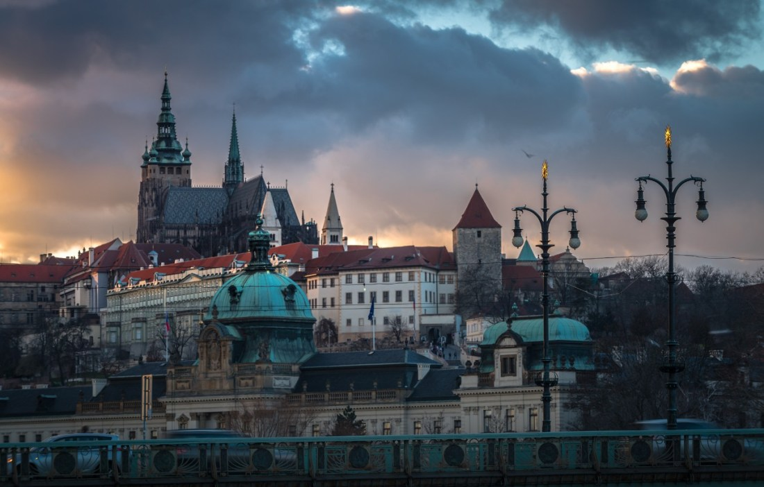 A view of Prague Castle at dusk