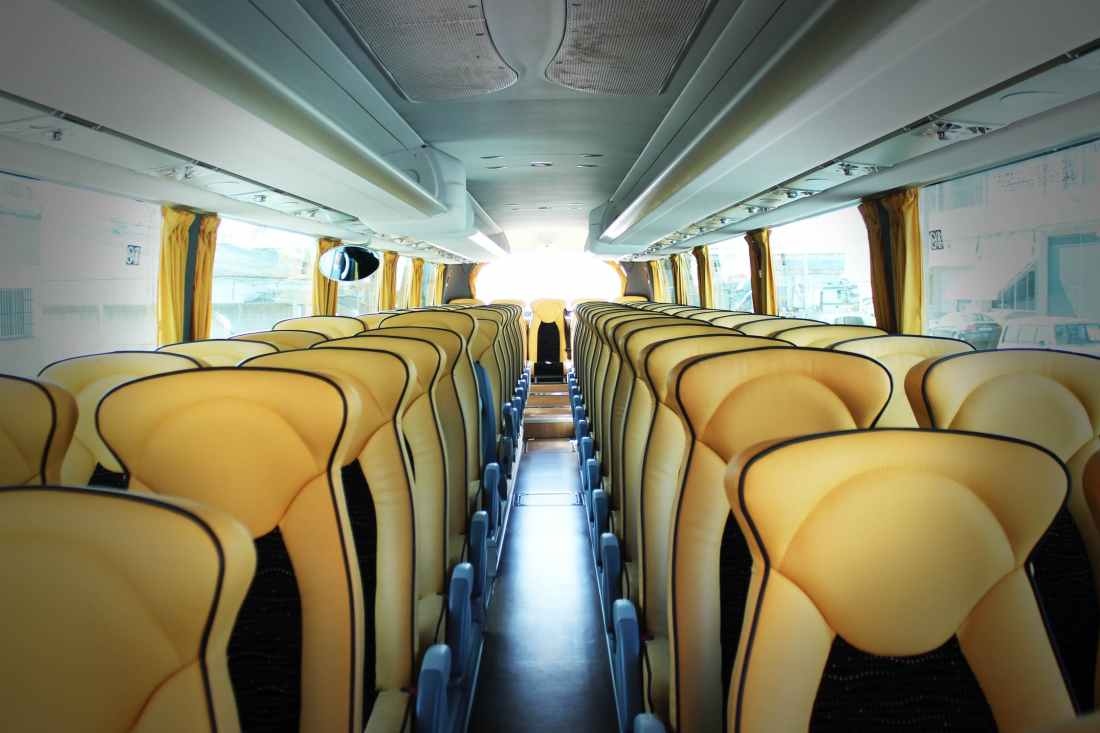 Empty seats on a luxury bus