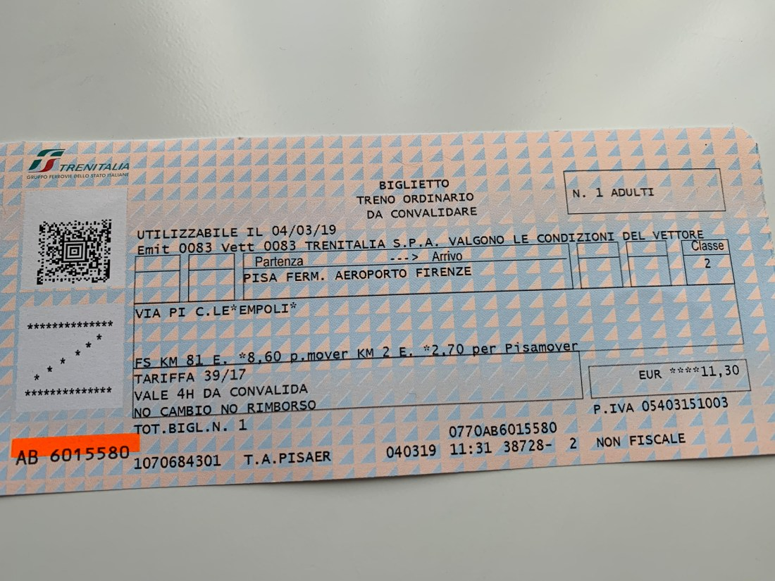 A train ticket from Pisa to Florence