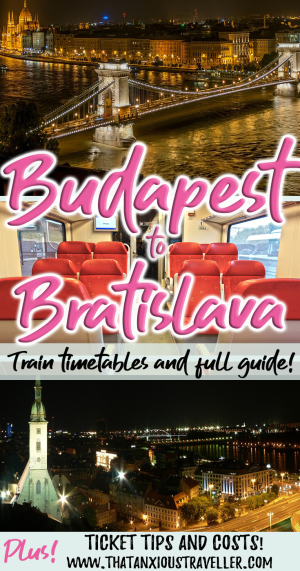 Traveling from Budapest to Bratislava by public transport? Get ticket price, tips, and a step by step guide to the Budapest to Bratislava train! All you need for a day trip from Budapest to Bratislava - includes the official Budapest to Bratislava timetable. #thatanxioustraveller #budapest #bratislava #train #timetable #europe