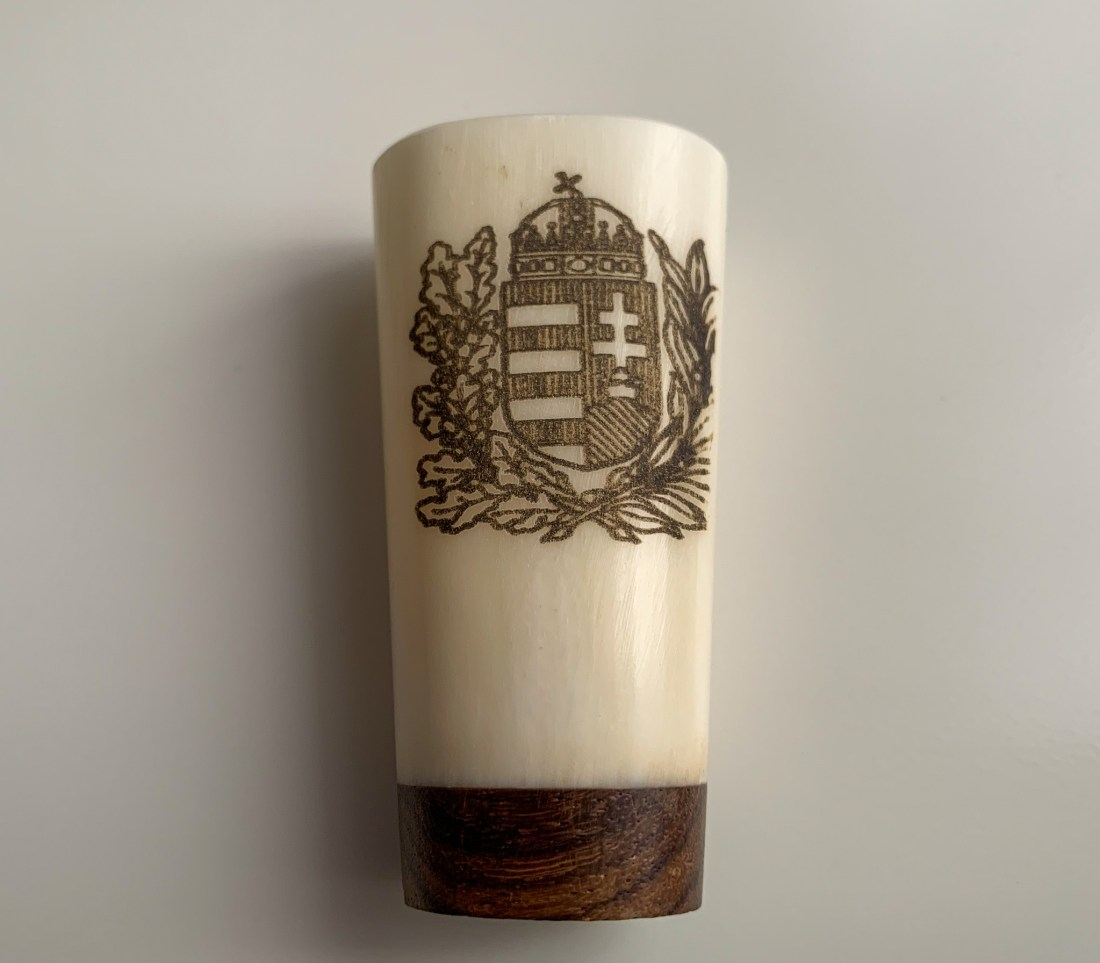 A shot glass made of horn, an example of Budapest arts and crafts