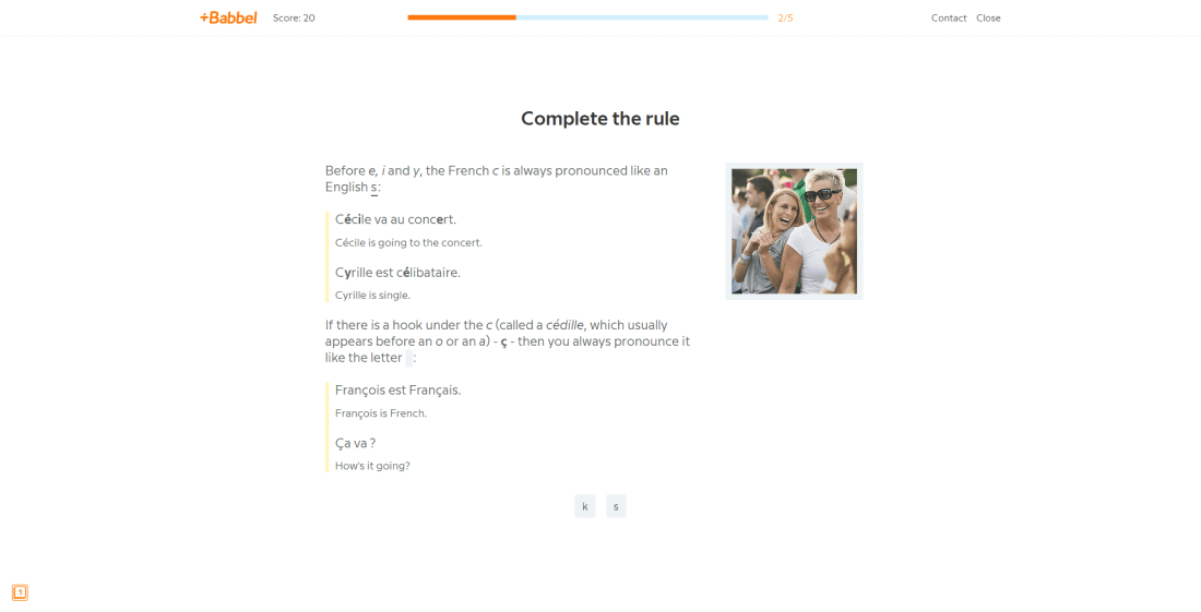 An example of language learning app Babbel, providing advice on pronunciation