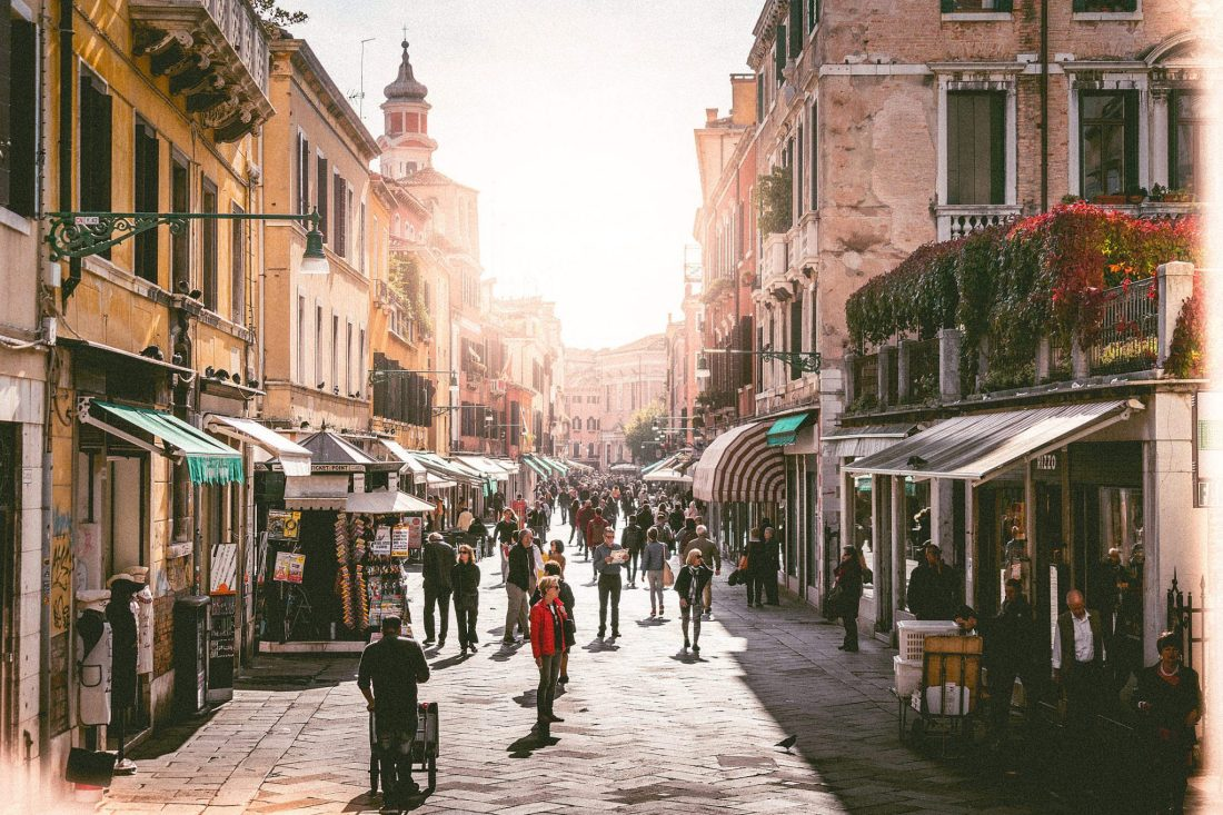 A busy street in Venice. The city is a favourite for Italy quotes!
