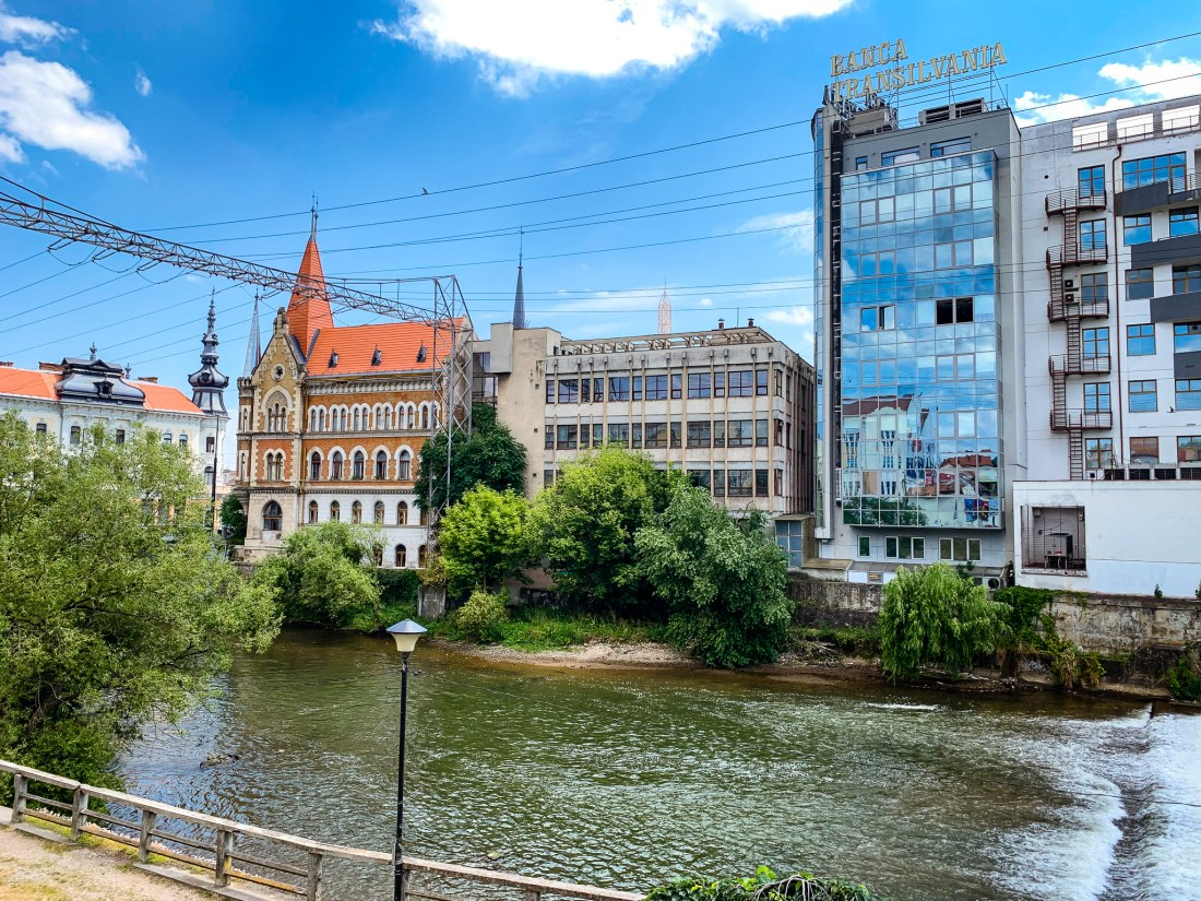 A photo of the canal flowing through the centre of Cluj-Napoca, one of Romania's hidden gems and the capital of Transylvania