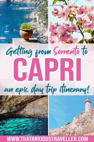 On vacation on the Amalfi Coast, Italy, and fancy a day trip to Capri? Try this guide on how to get from Sorrento to Capri! Includes info on how to buy your tickets, Sorrento ferry durations, and what to do in Capri - including the famous Blue Grotto! #capri #sorrento #italy