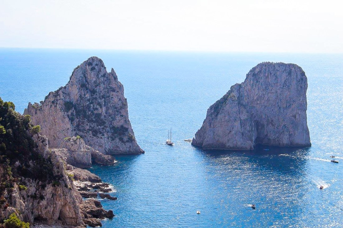 The Faraglioni rocks, a symbol of Capri and popular on Capri boat tours