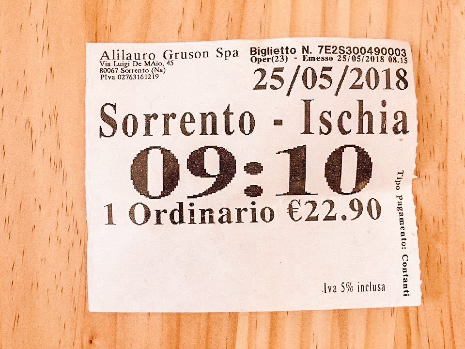 A ticket from Sorrento to Ischia, which is the same as one from Sorrento to Capri