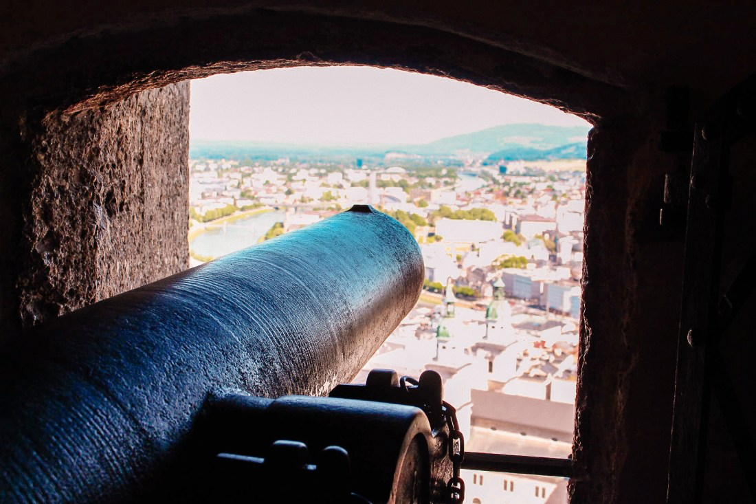 A cannon overlooking the city of Salzburg, housed in the scenic and historic Salzburg Fortress