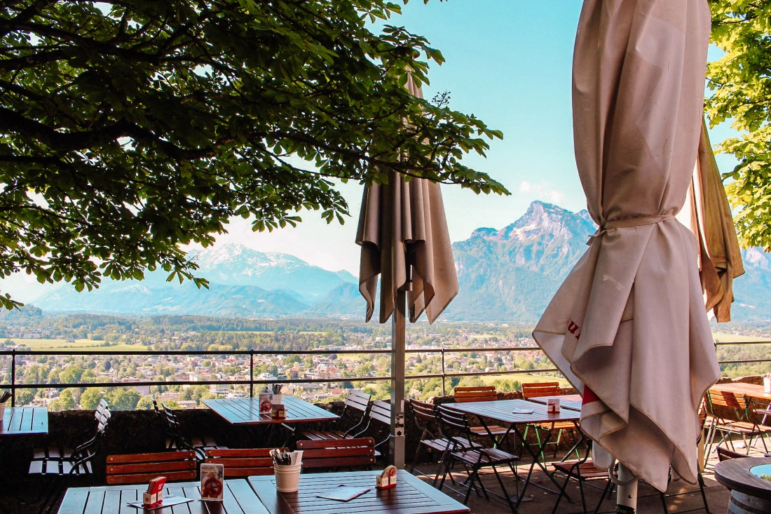 The view from the terrace of Festung Hohensalzburg. The fortress is a must-see for anyone taking a Vienna to Salzburg day trip.