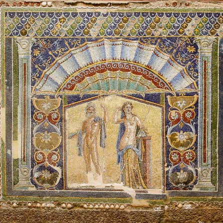 A brightly coloured mosaic in Herculaneum shows the gods Neptune and Aphrodite.