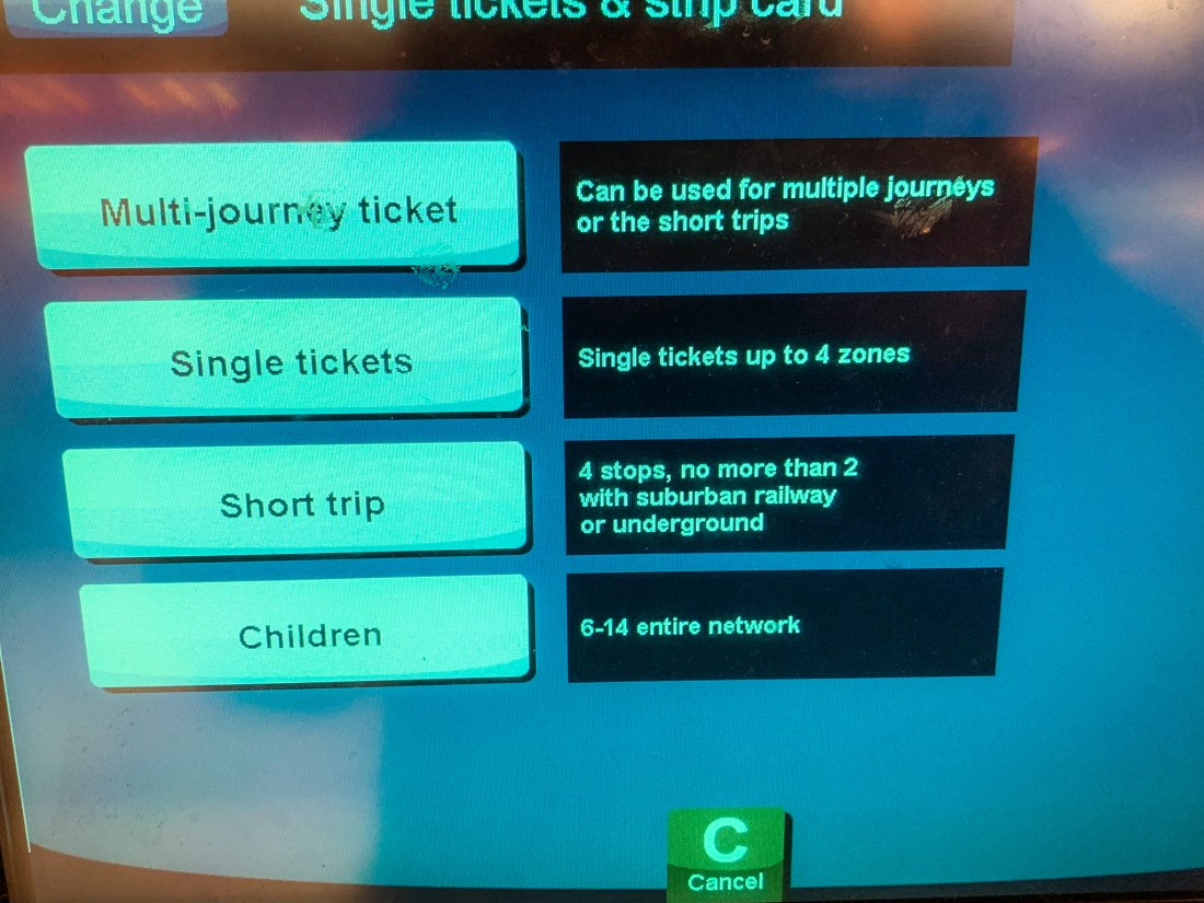 A Munich public transport machine showing options for single tickets