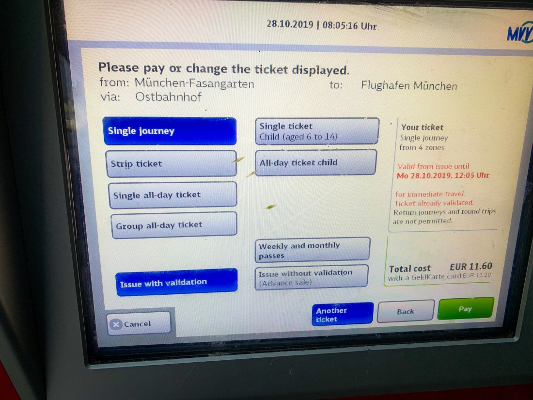 A public transport in Munich ticket machine showing a journey from Fasangarten to the airport