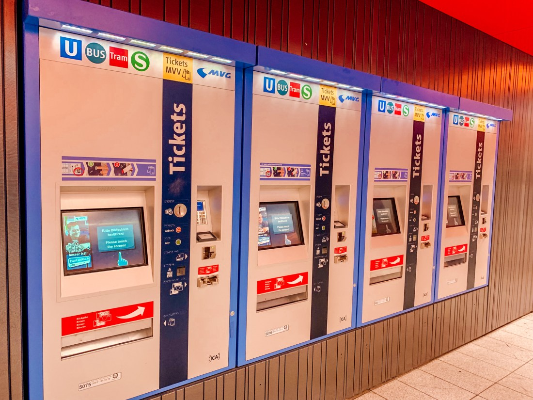 A row of ticket machines at Munich's Marienplatz station. This is a good way to get tickets for all kinds of Munich public transport.