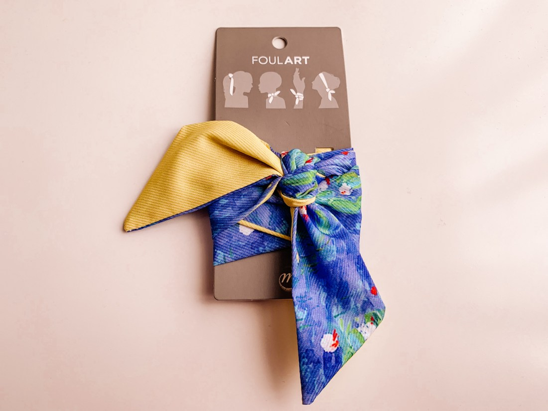 A hair scarf in the style of Monet's Water Lillies. These are good Paris souvenirs for art fans.