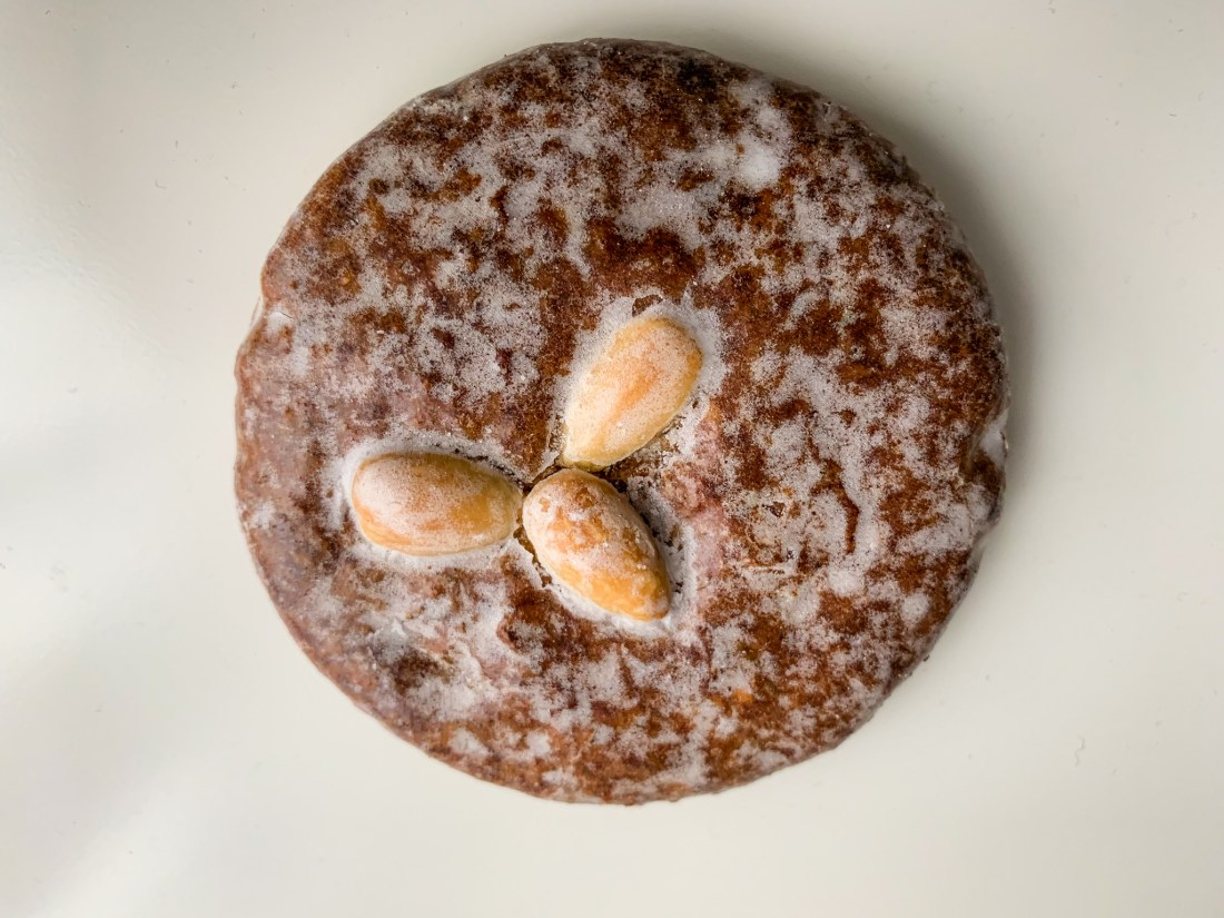 A lebkuchen - German gingerbread. This is a specialty of Nuremberg, and is frosted with almonds on top.